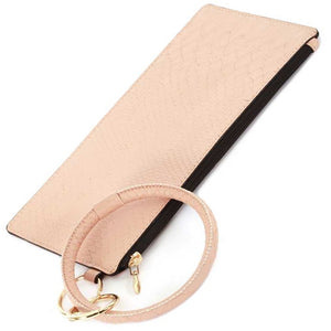 [12pcs set] Snake pattern pouch with key ring - light pink