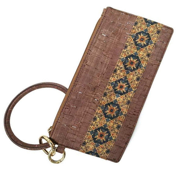 [12pcs set] Flower & cork pouch with key ring - brown