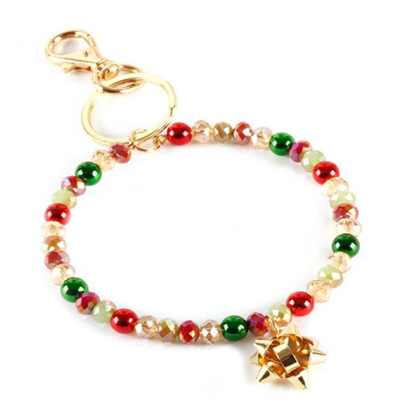 [12pcs set] Christmas bracelet keyring - multi