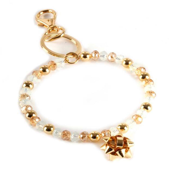 [12pcs set] Christmas bracelet keyring - cream