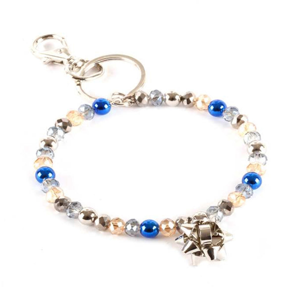 [12pcs set] Christmas bracelet keyring - blue