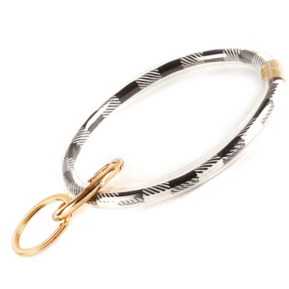 [12pcs set] Check pattern bangle keyring - black white