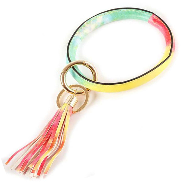 [12pcs set] Bangle & tassel key ring - multi
