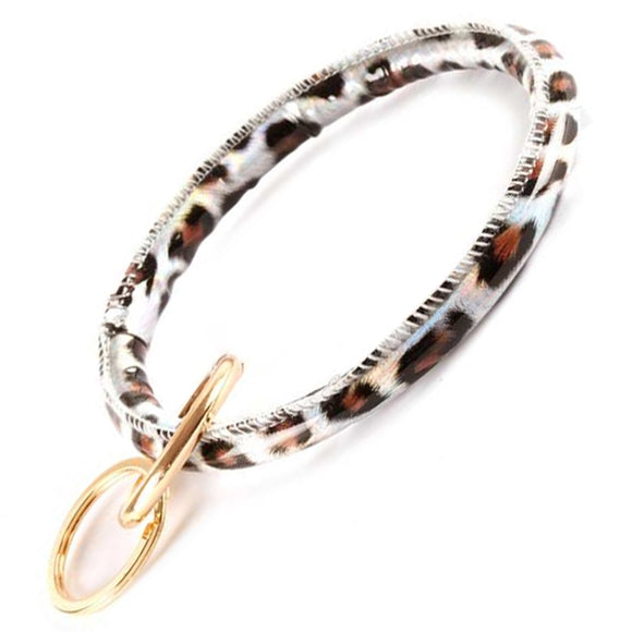 [12pcs set] Leopard bangle key ring - grey