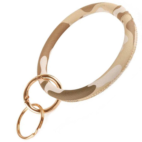 [12pcs set] Camo bangle with key ring - brown