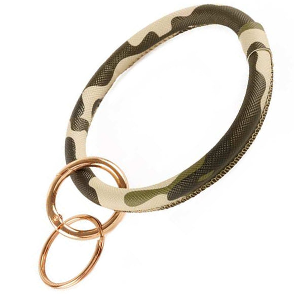 [12pcs set] Camo bangle with key ring - green