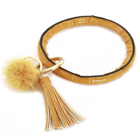 [12pcs set] Pom pom & tassel bangle with key ring - yellow