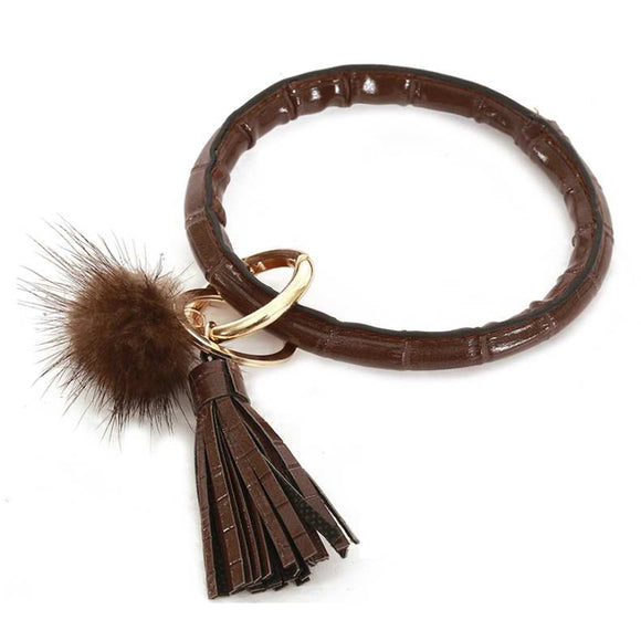 [12pcs set] Pom pom & tassel bangle with key ring - brown