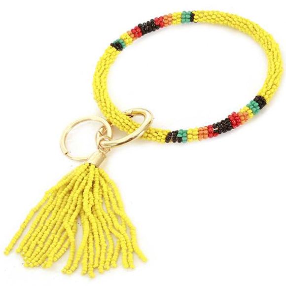 [12pcs set] Bead bangle with tassel key ring - yellow