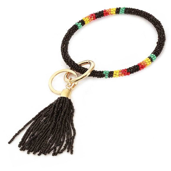 [12pcs set] Bead bangle with tassel key ring - black