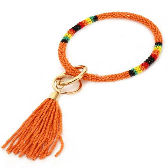 [12pcs set] Bead bangle with tassel key ring - orange
