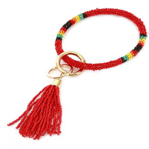 [12pcs set] Bead bangle with tassel key ring - red