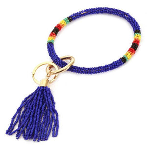 [12pcs set] Bead bangle with tassel key ring - blue