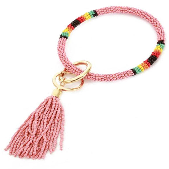 [12pcs set] Bead bangle with tassel key ring - light pink