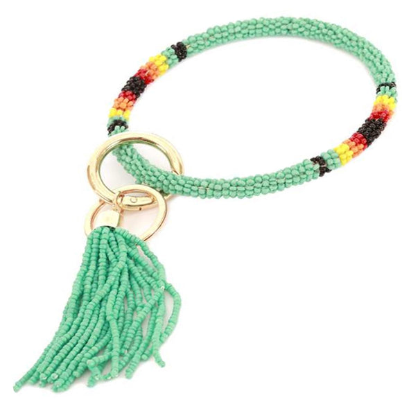 [12pcs set] Bead bangle with tassel key ring - turquoise