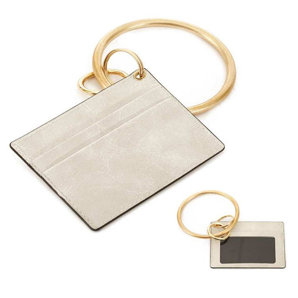 [12pcs set] ID card holder with key ring  - ivory
