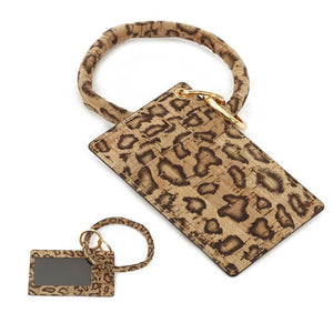[12pcs set] ID card holder with key ring  - leopard