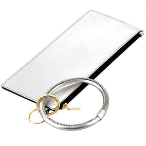 [12pcs set] Metallic pouch with key ring - silver