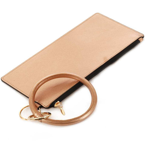 [12pcs set] Metallic pouch with key ring - rose gold