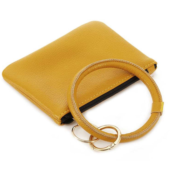 [12pcs set] Coin wallet with key ring - yellow