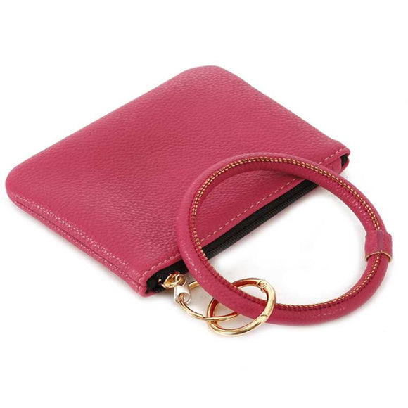 [12pcs set] Coin wallet with key ring - pink