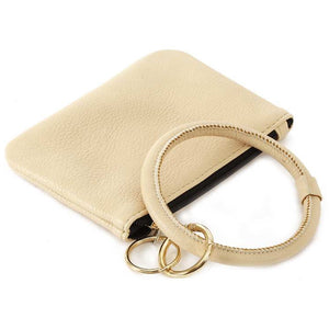 [12pcs set] Coin wallet with key ring - ivory