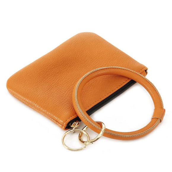 [12pcs set] Coin wallet with key ring - orange