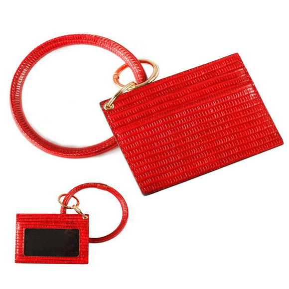 [12pcs set] ID card holder with key ring - red