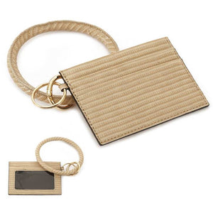 [12pcs set] ID card holder with key ring - beige