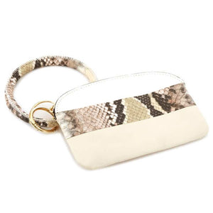 [12pcs set] Snake detail coin wallet with key ring - ivory