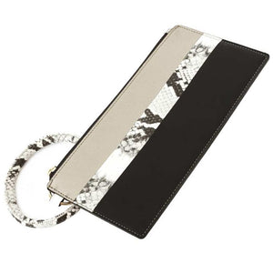 [12pcs set] Snake detail pouch with key ring - black