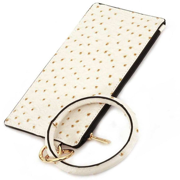 [12pcs set] Ostrich pouch with key ring - white