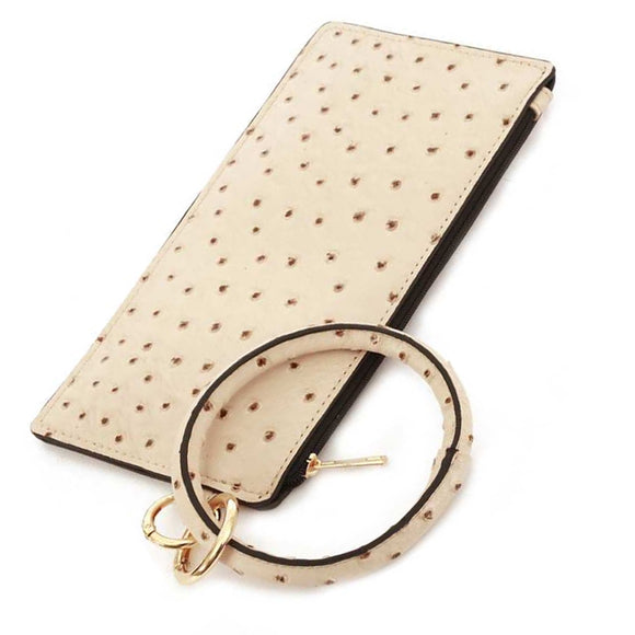 [12pcs set] Ostrich pouch with key ring - ivory