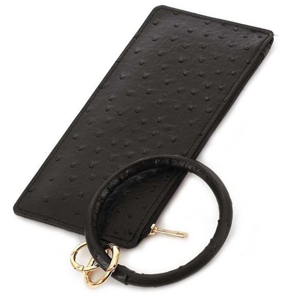 [12pcs set] Ostrich pouch with key ring - black