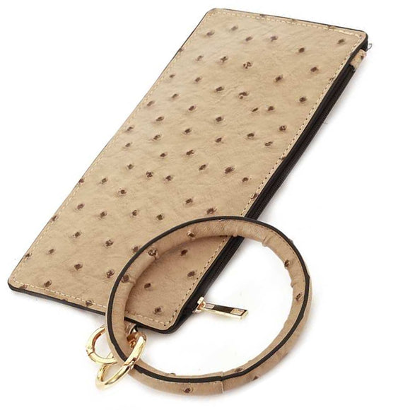 [12pcs set] Ostrich pouch with key ring - beige