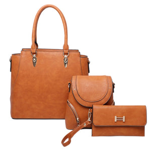 3 in 1 Tote & messenger & wallet set - brown