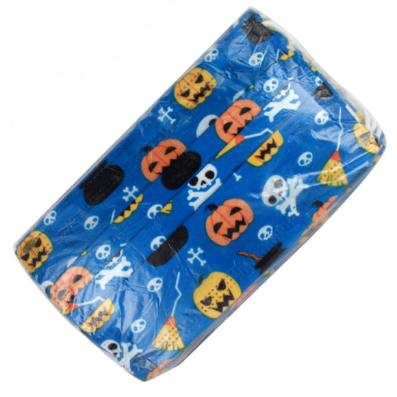 [50pcs set] Disposable 3PLY Face Mask - Halloween blue pumkin
