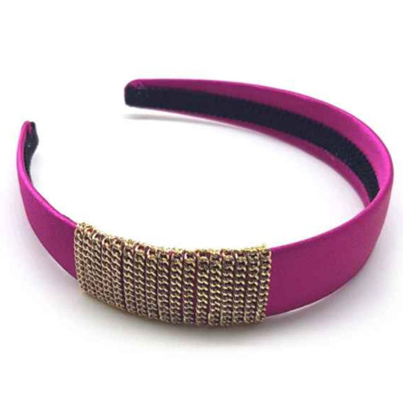 [12pcs set] Chain wrapped hair band - fuchsia