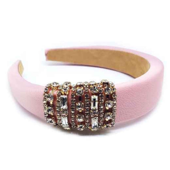 [12pcs set] Rhinestone hair band - pink