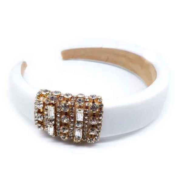 [12pcs set] Rhinestone hair band - white