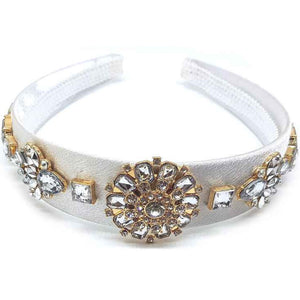 [12pcs set] Flower rhinestone hair band - white