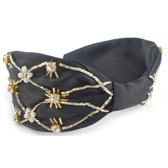 [12pcs set] Pearl & stone hair band - black