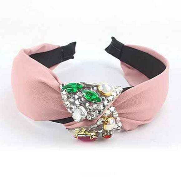 [12pcs set] Colorful rhinestone hair band - pink