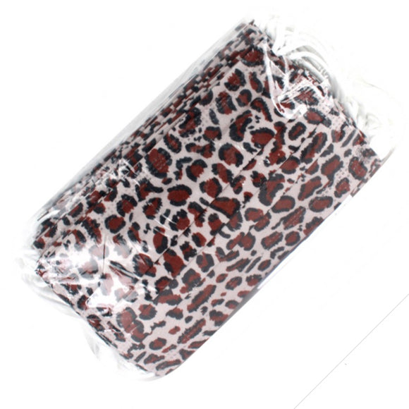 [50 PC] Disposable 3PLY Leopard Mask - brown