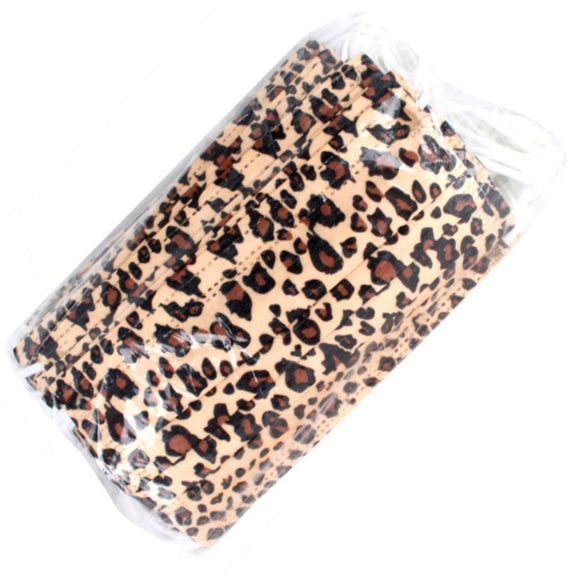 [50 PC] Disposable 3PLY Leopard Mask - tan