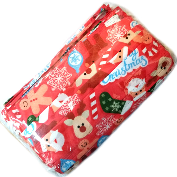 [50 PC] Christmas disposable 3ply mask - red