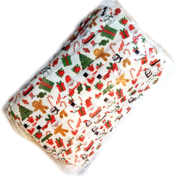 [50 PC] Christmas disposable 3ply mask - white multi