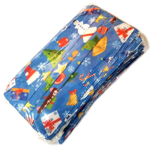 [50 PC] Christmas disposable 3ply mask - blue