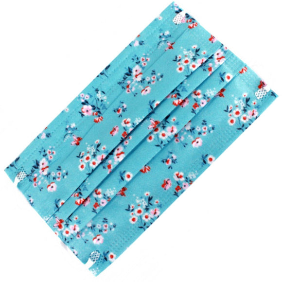 [50 PC] Flower print disposable 3ply mask - blue