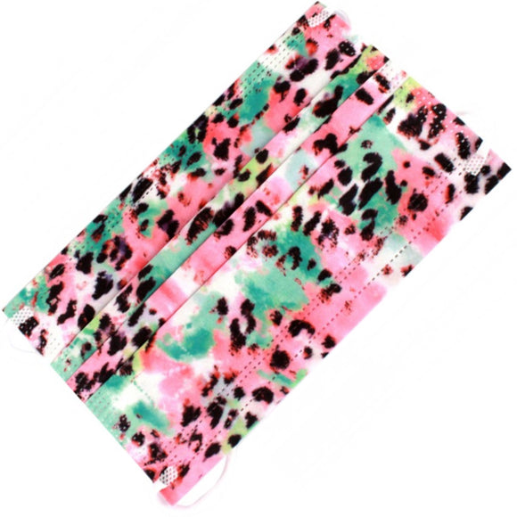 [50 PC] Leopard print disposable 3ply mask - multi